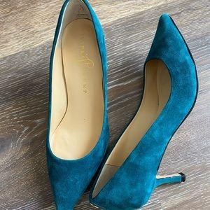 Ivanka Trump teal suede shoes